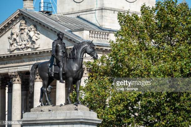 king george iv statue at trafalgar square, london uk - national portrait gallery london stock pictures, royalty-free photos & images