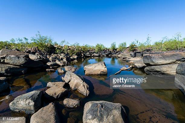 a dwindling waterhole in a riverbed during the dry season. - billabong water stock photos and pictures
