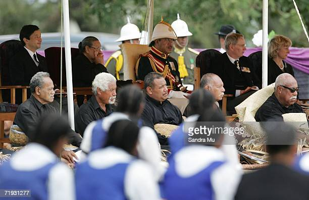 King George Tupou V sits with his Mother Queen Halaevalu Mata'aho Crown Prince Naruhito of Japan and The Duke and Duchess of Gloucester at the State...