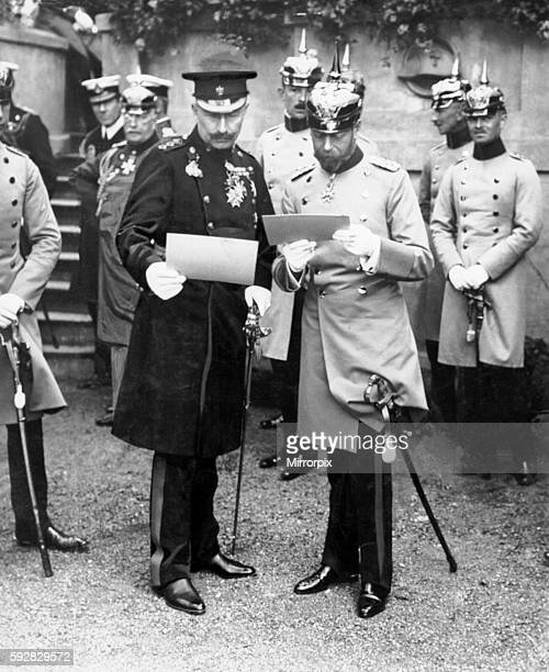 King George V accompanied by his cousin Kaiser Wilhelm II of Germany pictured visiting his German Regiment the First Dragoon Guards on his visit to...