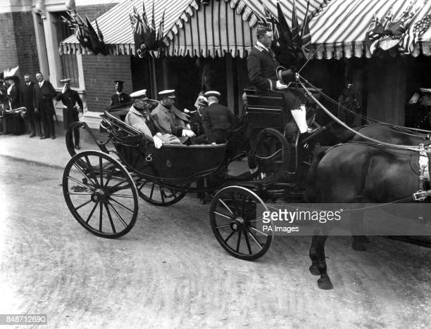 King George V and Kaiser Wilhelm II leave Olympia in London after a military tournament
