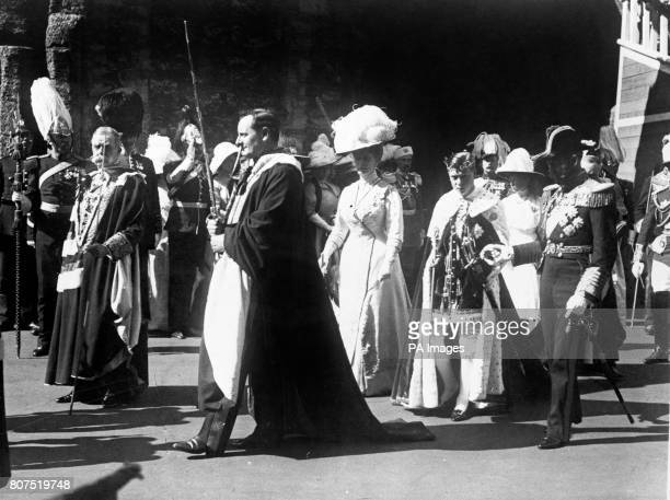 King George V and Queen Mary accompany their son Prince Edward who has just been made Prince of Wales