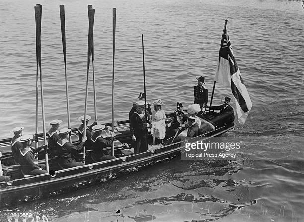 King George V and Queen Mary arrive at Kingstown later Dun Laoghaire near Dublin during a visit to Ireland July 1911 They are accompanied by the...