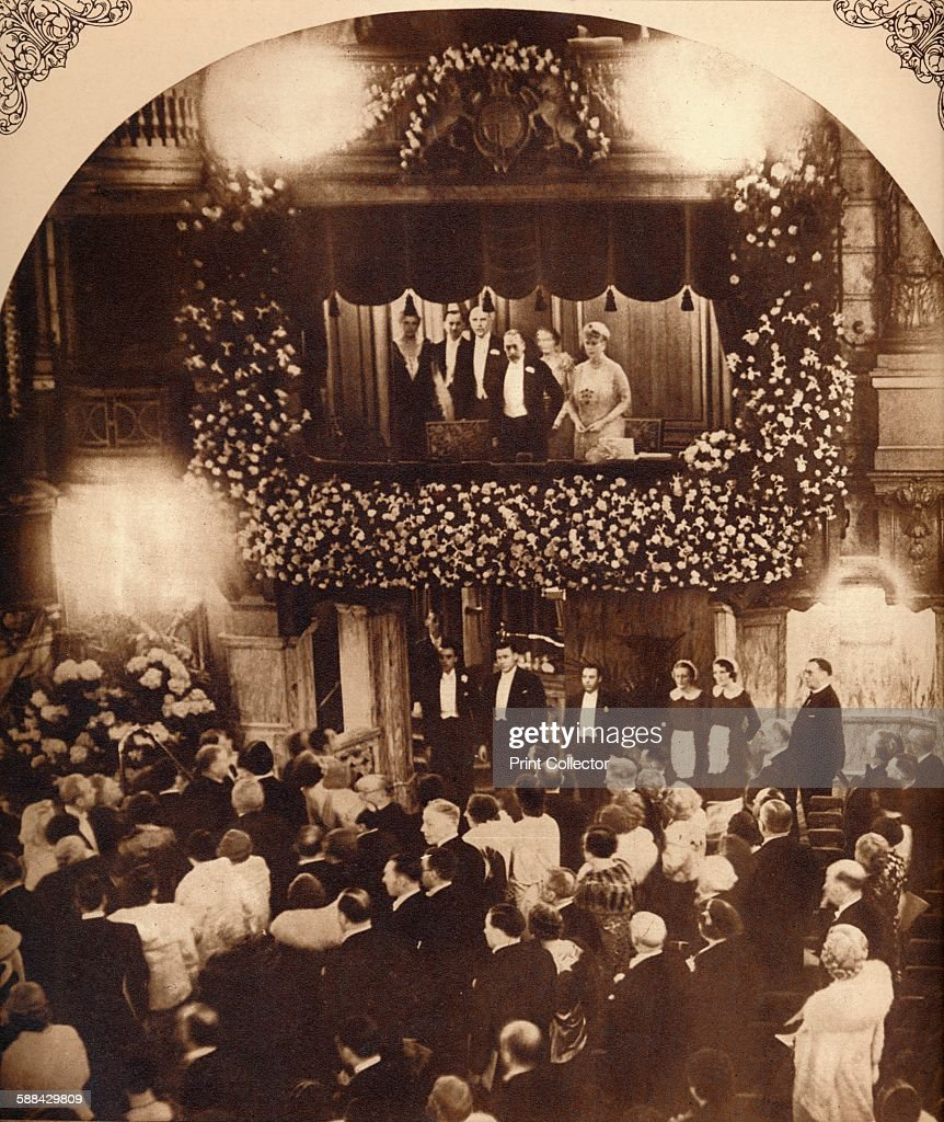 King George V and Queen Mary at a Royal Command Variety Performance : News Photo