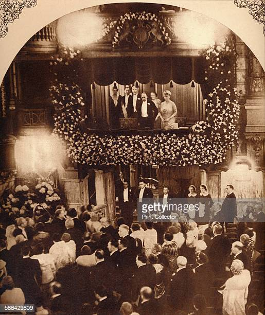 King George V and Queen Mary at a Royal Command Variety Performance 1920s or 1930s From King Emperor's Jubilee by F G H Salusbury
