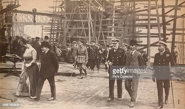 King George V and Queen Mary at a Sunderland shipyard during World War I, June 15th . King George V Queen Mary of Teck at Sunderland shipyard. From...