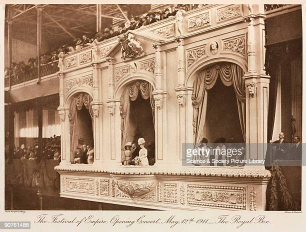King George V and Queen Mary in the Royal Box presiding over a concert held on 12 May 1911 to celebrate the British Empire The Crystal Palace was...