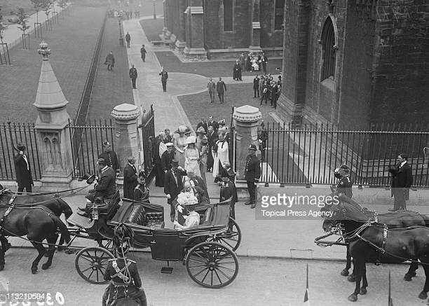 King George V and Queen Mary leave St Patrick's Cathedral in Dublin during a visit to Ireland July 1911 They are accompanied by the Prince of Wales...