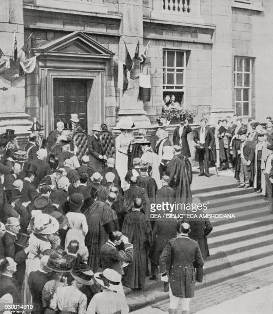 King George V and Queen Mary of Teck at the University of Dublin Ireland Topical photograph from L'Illustrazione Italiana Year XXXVIII No 30 July 23...