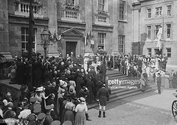 King George V and Queen Mary outside Trinity College in Dublin during a visit to Ireland July 1911