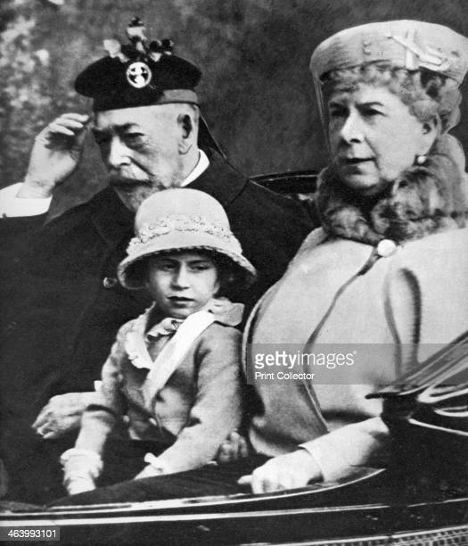King George V and Queen Mary with Princess Margaret driving to church Balmoral c1930s Illustration from George V and Edward VIII A Royal Souvenir by...