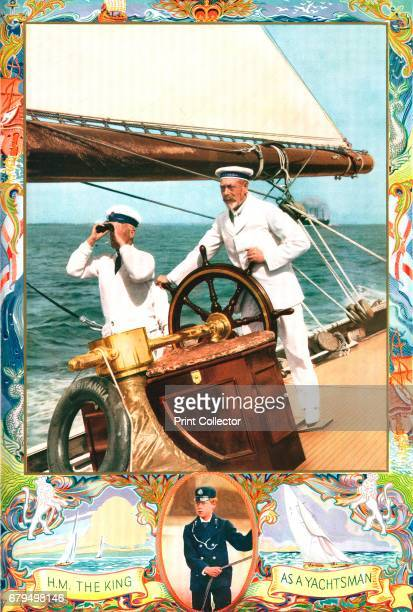 King George V as a yachtsman c1935 Steering his racing cutter 'Britannia' and inset as a cadet aboard the 'Bacchante' From 'The Illustrated London...