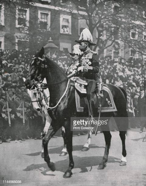King George V at the funeral of his father King Edward VII, London, 20 May 1910. King George V , and his first cousin Kaiser Wilhelm II of Germany,...