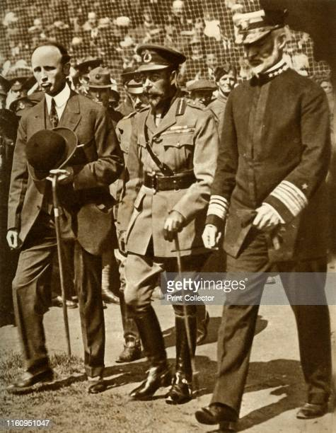 King George V attends a baseball match at Stamford Bridge, London, . George V at a sports event during the First World War, 'arranged in honour of...