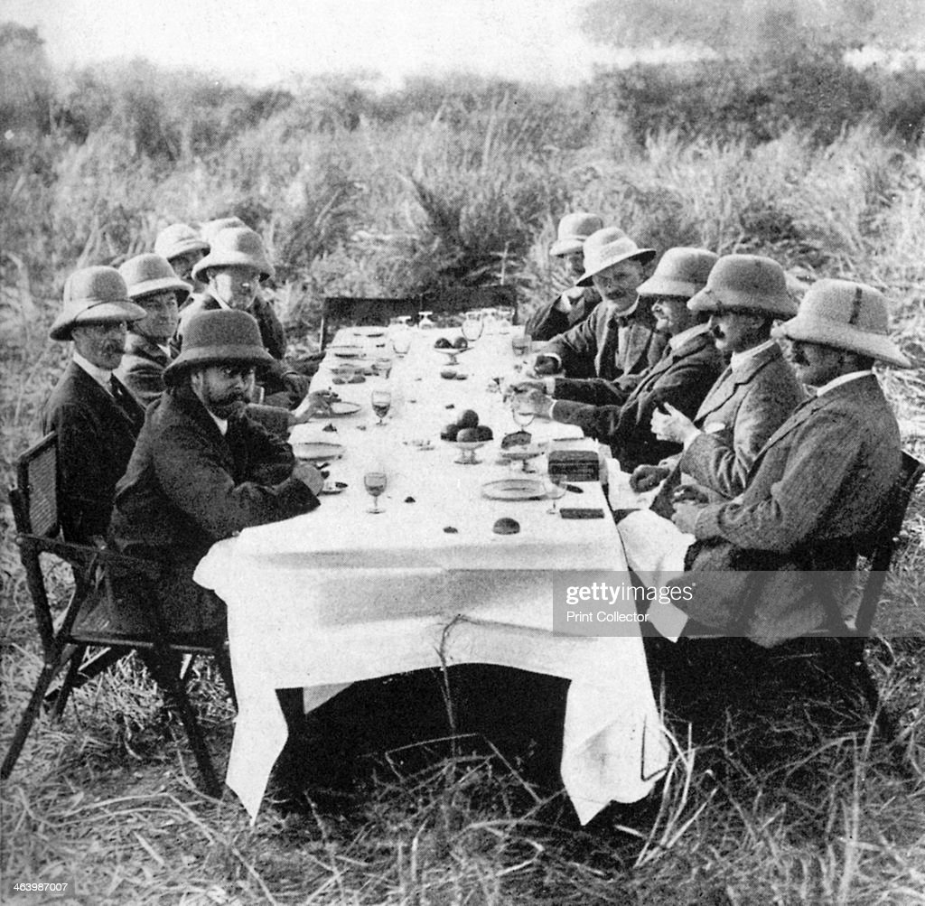 King George V (1865-1936) having lunch after tiger hunting in Nepal, 1911 (1936). : News Photo