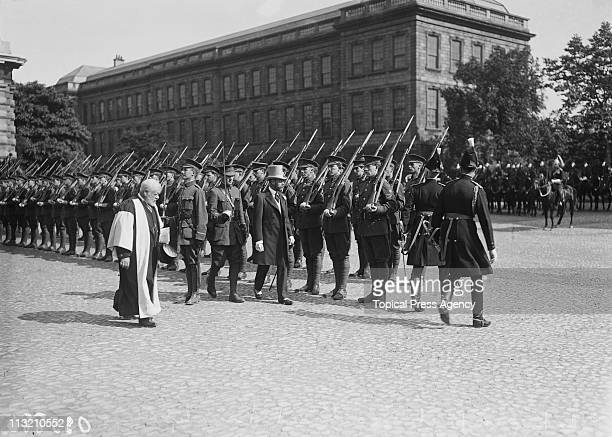 King George V inspects cadets at Trinity College in Dublin during a visit to Ireland July 1911