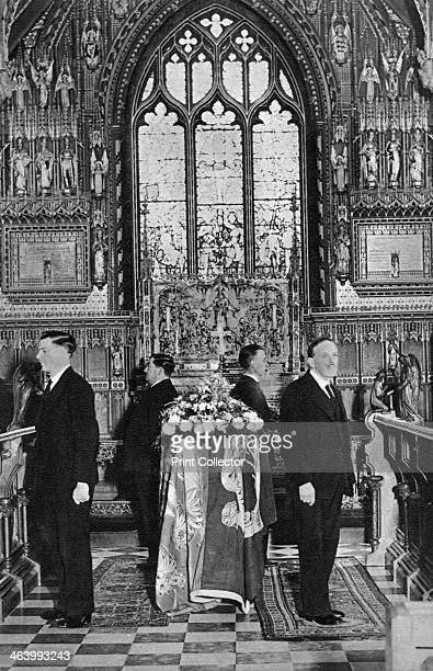 King George V lying in state Church of St Mary Magdalene Sandringham Norfolk January 1936 Illustration from George V and Edward VIII A Royal Souvenir...
