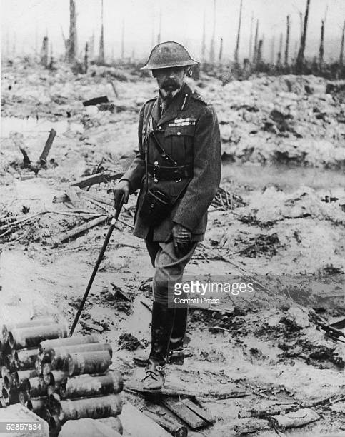 King George V of Great Britain in military uniform viewing a battlefield in France 1914