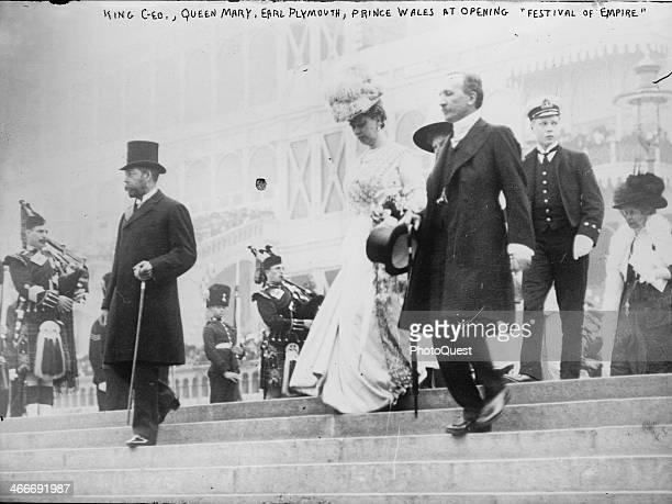King George V of the United Kingdom Queen Mary and Edward VIII the Prince of Wales at the opening of the Festival of Empire at the Crystal Palace...