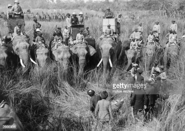 King George V on his elephant centre right inspects the day's kill during a tiger hunt in India on his royal visit to celebrate his accession to the...