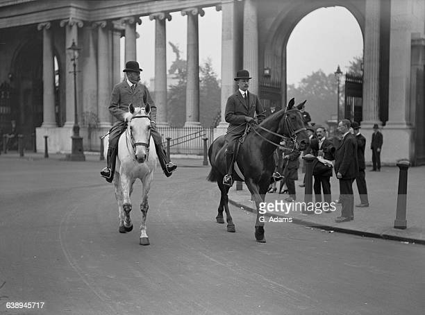 King George V passing through the Grand Entrance at Hyde Park for a morning horse ride in Rotten Row 9th July 1926