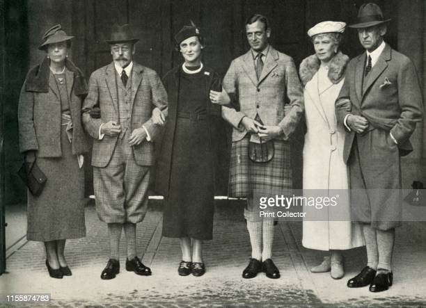 King George V, Queen Mary, Prince George, Princess Marina and her parents at Balmoral in 1934', . Group portrait at the royal residence of Balmoral...