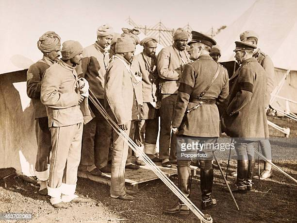 King George V visiting wounded Sikh soldiers on the Western Front during World War One circa 1916