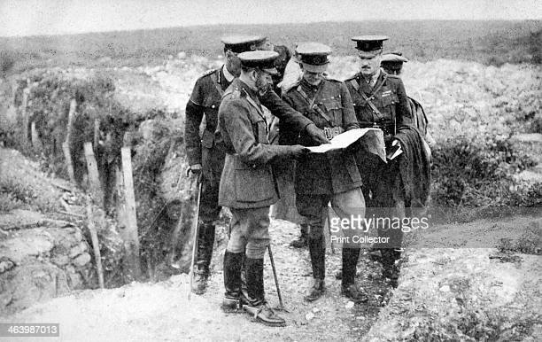 King George V with General Sir Henry Seymour Rawlinson and General Congreve at St George's Hill near Fricourt 10th August 1916 Fricourt is a little...