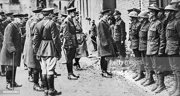 King George V with the 7th Battalion Sherwood Foresters after Bullecourt First World War March 1918 Illustration from George V and Edward VIII A...
