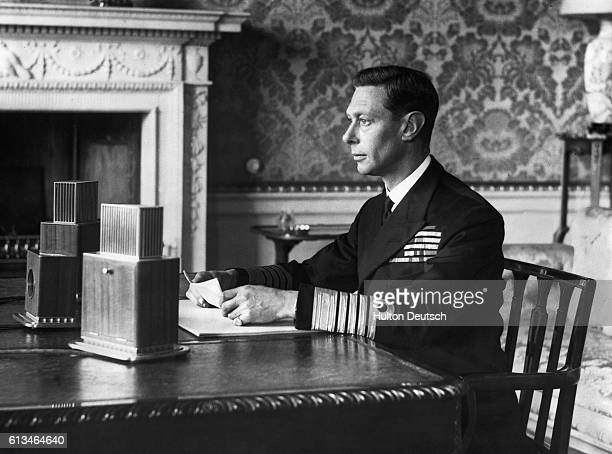 King George VI addresses the British people over radio on September 4 one day after Britain declared war on Nazi Germany He asked them to stand calm...