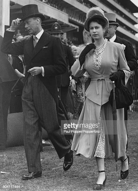 King George VI and his daughter Princess Elizabeth at Epsom Downs Racecourse for the Derby Surrey 5th June 1948