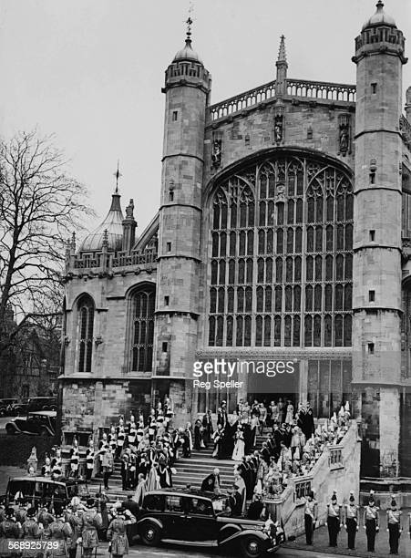 King George VI and his wife Queen Elizabeth leaving St George's Chapel after the installation of the King of Denmark as a Knight of the Garter in...