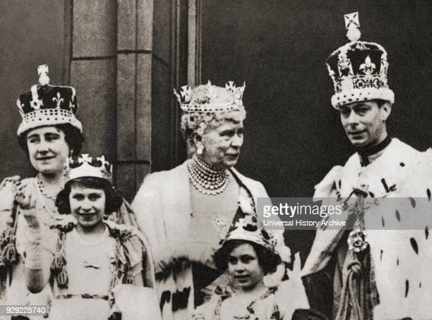 King George VI and his wife Queen Elizabeth seen here on the balcony at Buckingham Palace, London, England the day of their coronation, 12 May with...