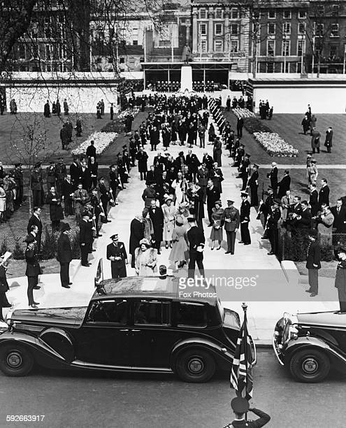 King George VI and Queen Elizabeth and the Royal party preparing to leave Grosvenor House to unveil the memorial to the late President Franklin D...