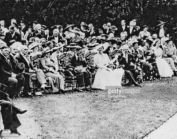 King George VI and Queen Elizabeth attend a garden party at the Château de Bagatelle in the Bois de Boulogne during their State Visit to Paris France...
