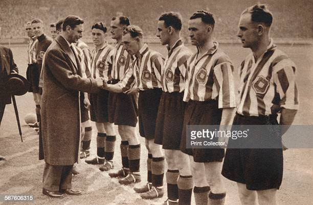 'King George VI and Queen Elizabeth attended the Association Football cup final between Sunderland and Preston North End at Wembley Stadium May 1st...
