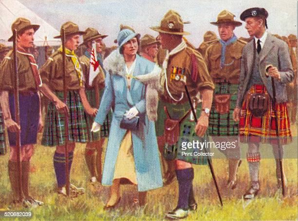 King George VI and Queen Elizabeth inspect scouts at Portree, on the Isle of Skye c1935. From The Pageant of Kingship cigarette card series, issued...