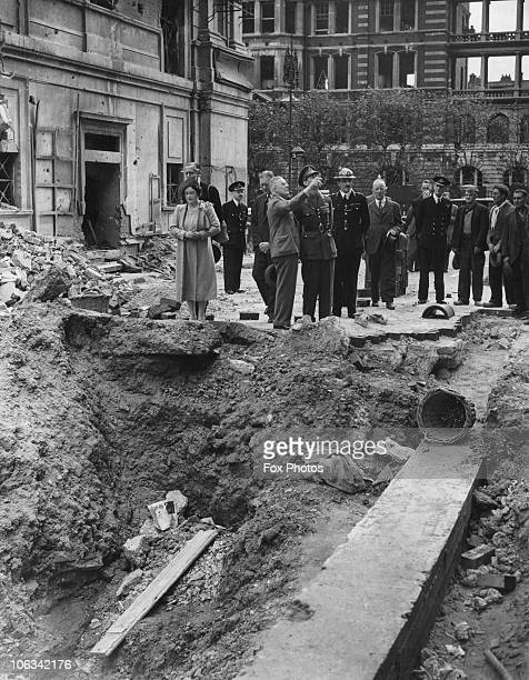 King George VI and Queen Elizabeth inspecting airraid damage near Marylebone Road London during the Blitz 19th September 1940
