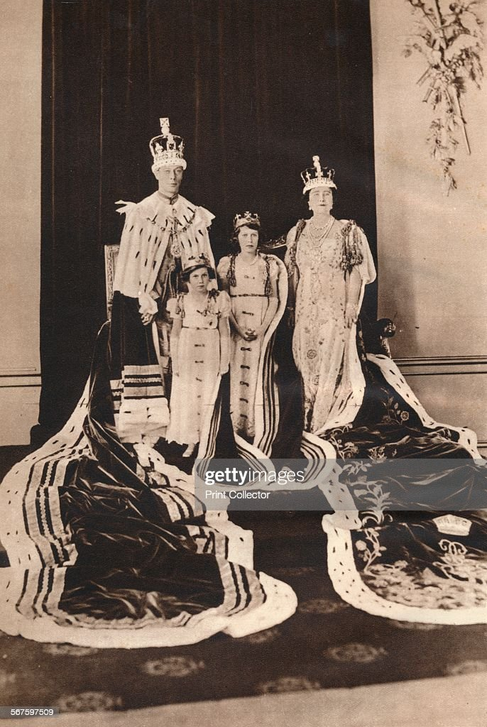 'King George VI and Queen Elizabeth on their Coronation Day, 1937; with Princess Elizabeth (later Queen Elizabeth II) and Princess Margaret'. From The Coronation of King George VI and Queen Elizabeth. [Odhams Press Ltd., London, 1937].