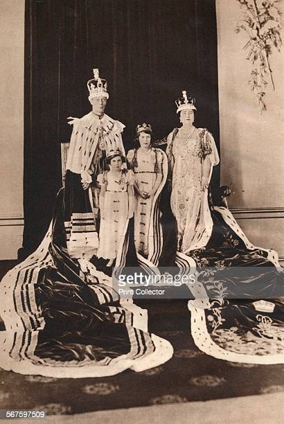 'King George VI and Queen Elizabeth on their Coronation Day 1937 with Princess Elizabeth and Princess Margaret' From The Coronation of King George VI...
