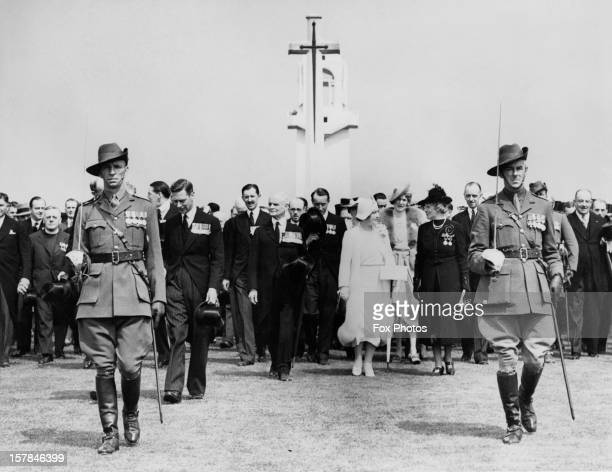 King George VI and Queen Elizabeth unveil the Villers–Bretonneux Australian National Memorial in the Somme, during their State Visit to France, 22nd...