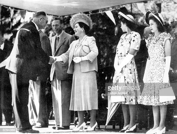 King George VI and Queen Elizabeth with Princesses Margaret Rose and Elizabeth during a Royal tour of South Africa