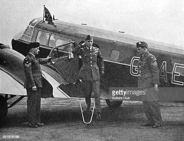 WW2 King George VI disembarking from a plane at an RAF station