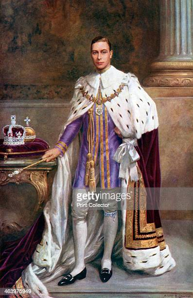 King George VI in coronation robes, 1937. A coloured plate from the Illustrated London News: Coronation Record Number, .