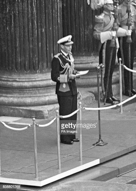 King George VI makes the world broadcast speech on the steps of St Paul's Cathedral in which he opened the Festival of Britain after the dedication...