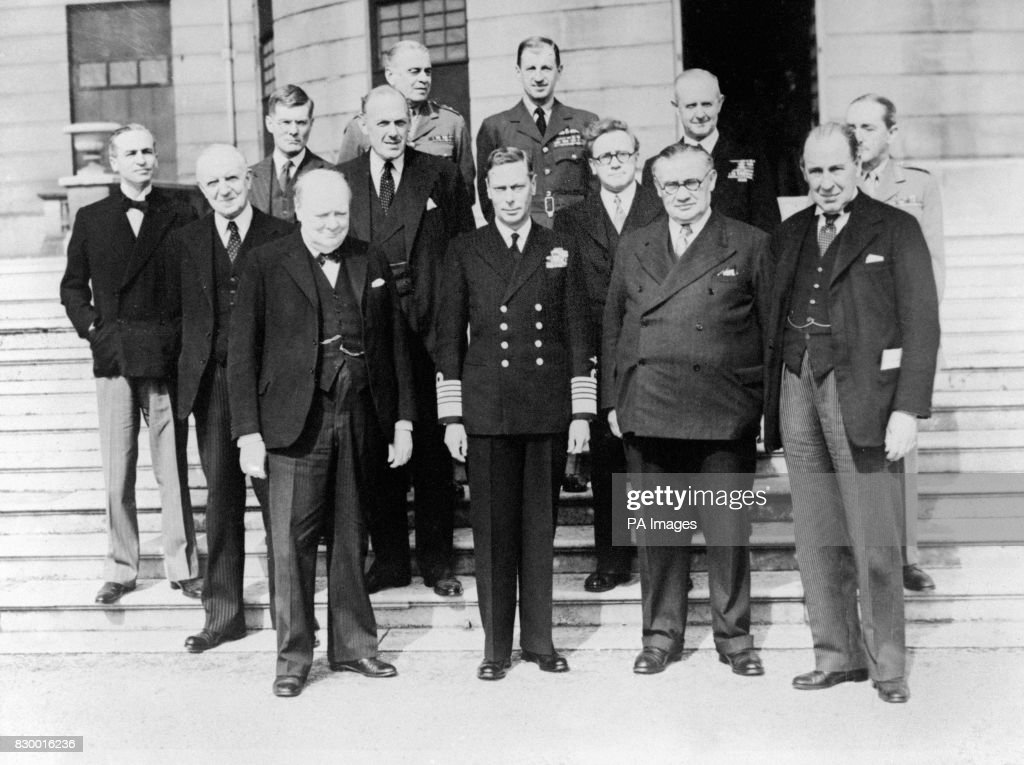 King George VI With Members Of His Cabinet. To Either Side Of Him Is Left