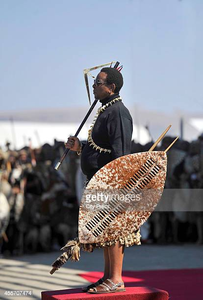 King Goodwill Zwelithini at the annual reed dance at eNyokeni Royal Palace on September 6 2014 in Nongoma South Africa The Reed dance is a colourful...