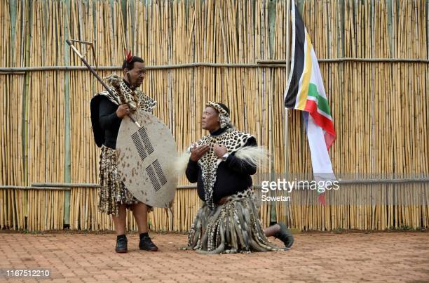 King Goodwill Zwelithini during the annual Umkhosi Womhlanga at Enyokeni Royal Palace on September 07 2019 in Nongoma South Africa The reed dance...