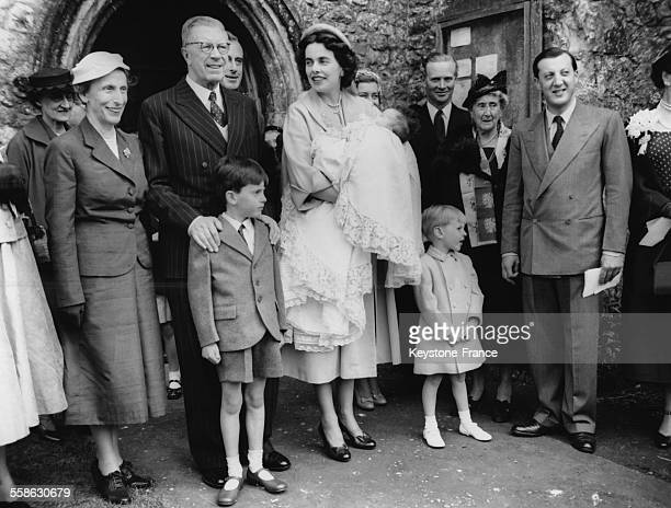 King Gustaf VI Adolf of Sweden at the christening of Joanna Edwina Doreen the baby daughter of lord and lady Brabourne on May 23 1955 in Mersham Kent...