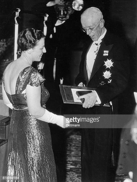 King Gustav of Sweden as he awarded the Nobel Prize for Literature to Pearl Buck, during the recent presentation of prizes at Concert Hall,...